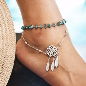 Jewelry - Dreamcatcher Stone Beaded Gypsy Silver Anklet